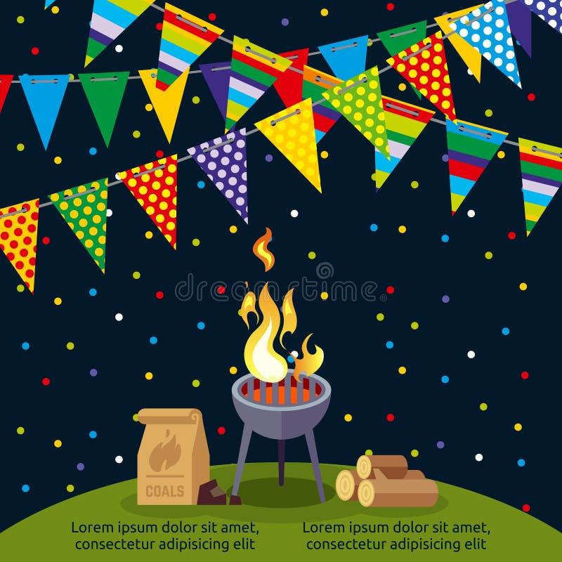Przyjęcia lub BBQ plakatowy projekt z kolorowymi flaga ilustracji