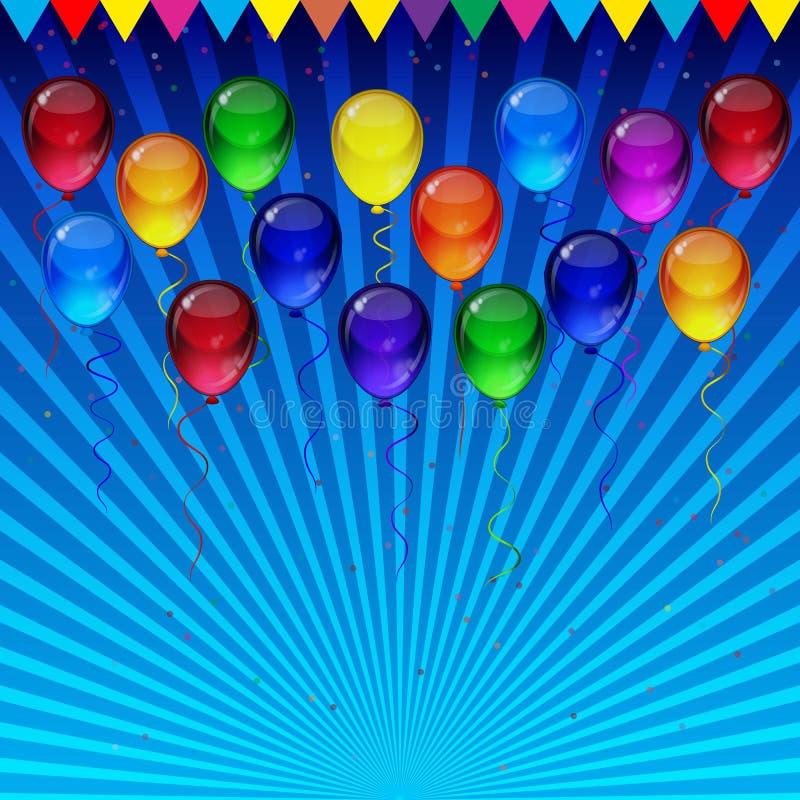 Przyjęcia urodzinowego wektorowy tło - kolorowi świąteczni balony, confetti, faborki lata dla świętowanie karty w błękitnym tle ilustracja wektor