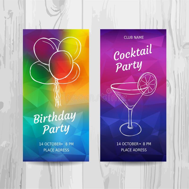 Przyjęcia Urodzinowego zaproszenia karta Przyjęcie koktajlowe ulotka royalty ilustracja