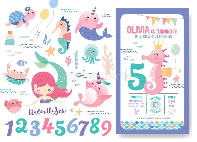 Przyjęcia Urodzinowego zaproszenia karty szablon ilustracji
