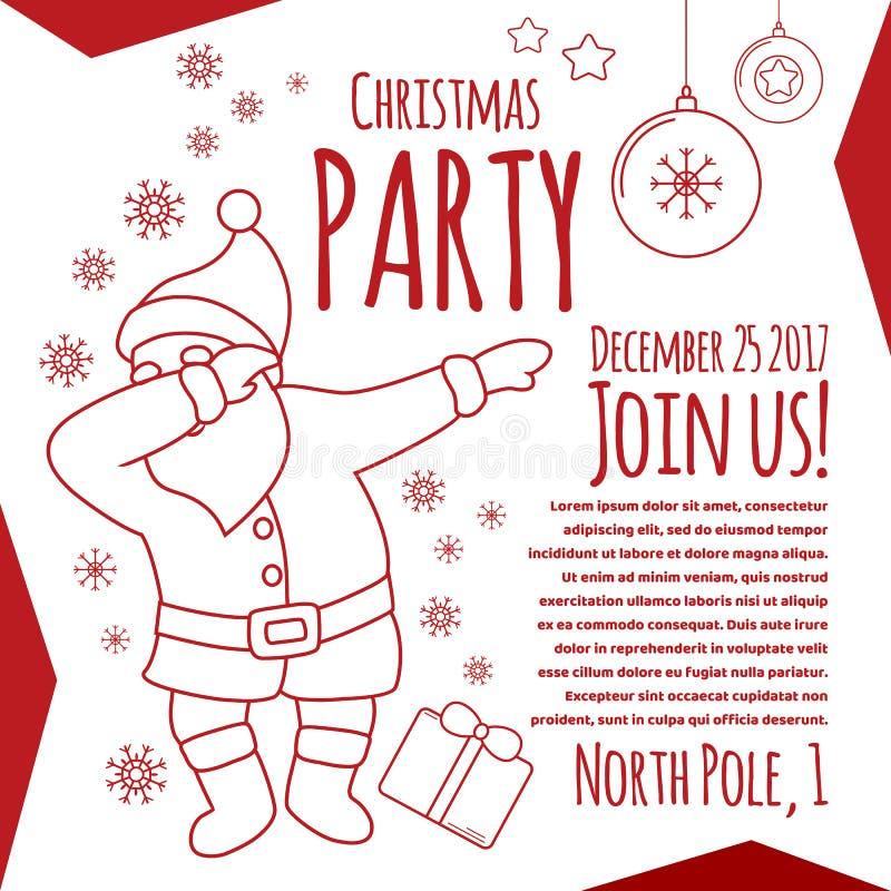 Przyjęcie gwiazdkowe kreskowej sztuki ulotki karta z typografią, Śmieszny Santa dabbing ilustracja wektor
