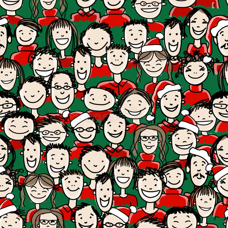 Przyjęcie gwiazdkowe z grupą ludzi, bezszwową royalty ilustracja