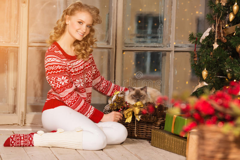 Przyjęcie gwiazdkowe, zima wakacji kobieta z kotem dziewczyna nowy rok fotografia royalty free