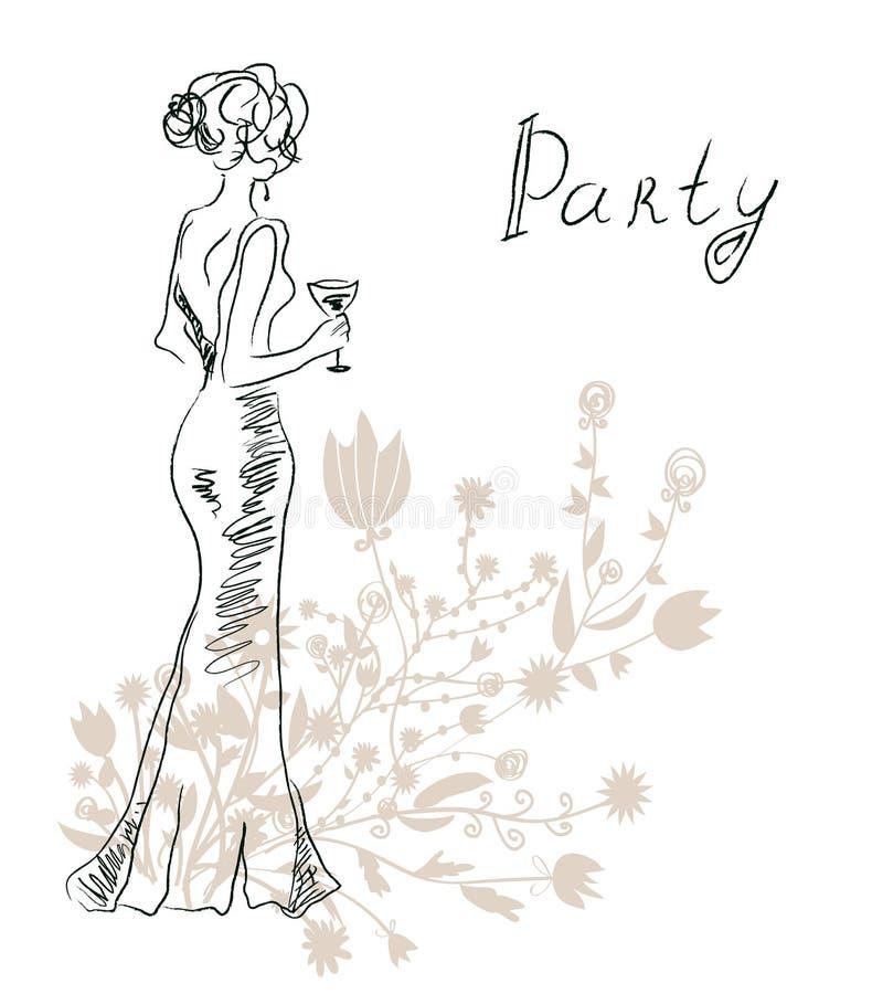 Przyjęcie koktajlowe karta z retro kobietą lub zaproszenie ilustracji