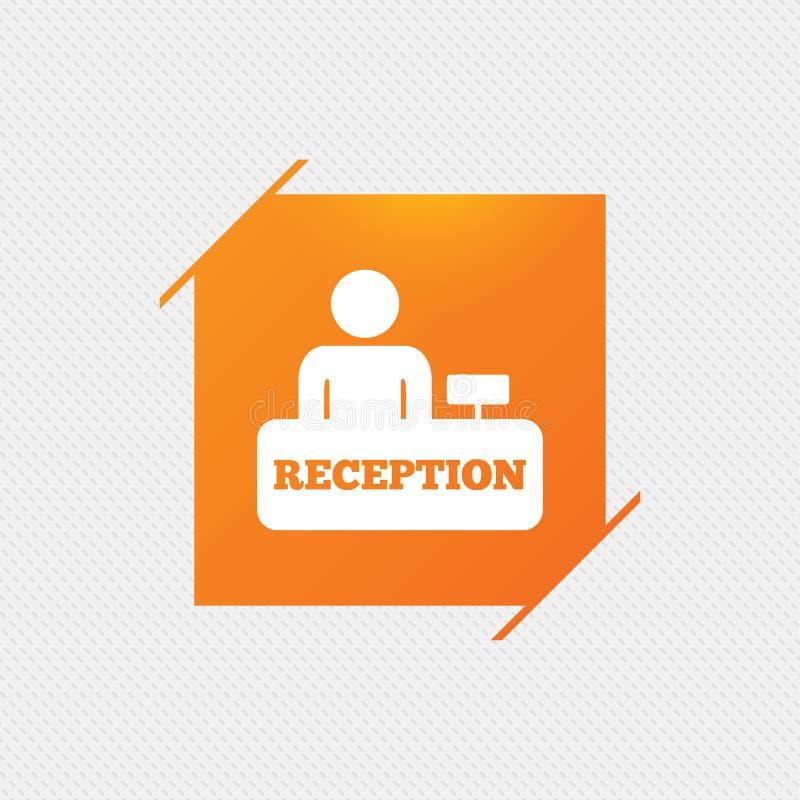 Przyjęcie szyldowa ikona Hotelowy rejestracja stół ilustracja wektor
