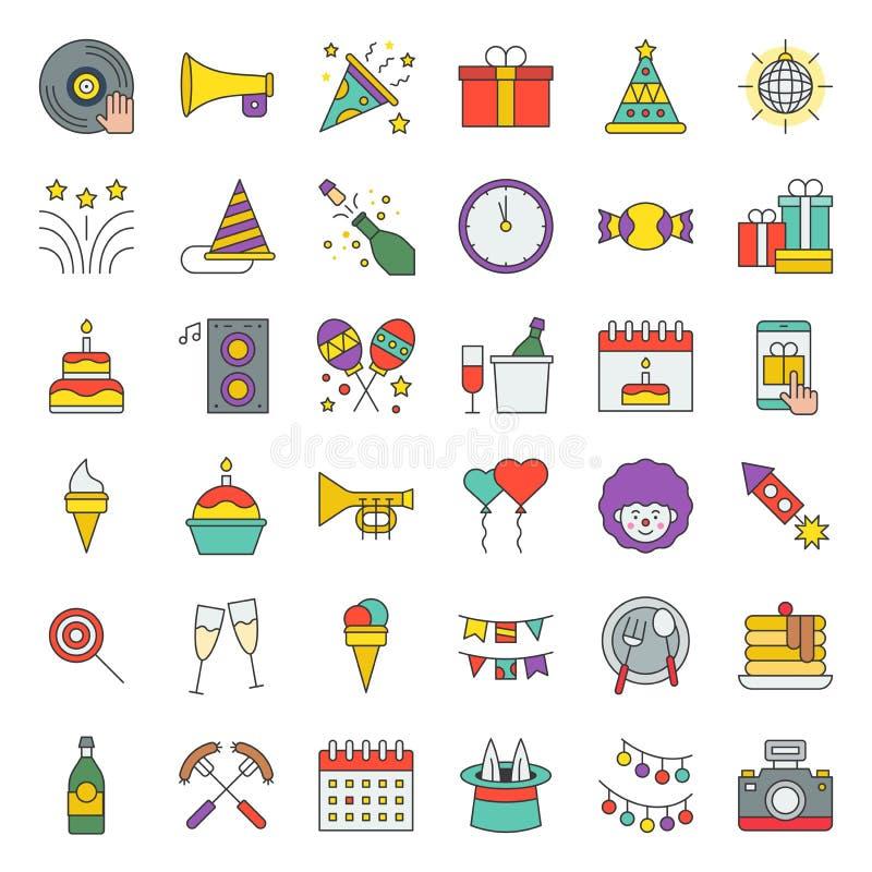 Przyjęcie urodzinowe, bawi się powiązanego ikona set, editable uderzenie wypełniający kontur ilustracja wektor