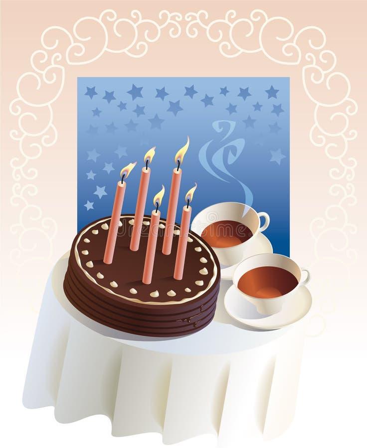 przyjęcie urodzinowe herbata royalty ilustracja