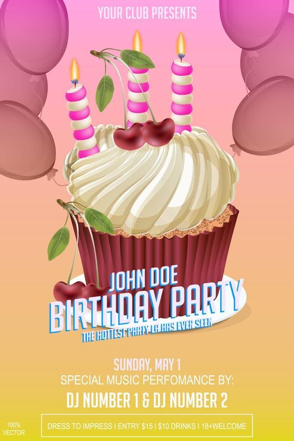 Przyjęcie Urodzinowe ulotki szablon z urodzinowym tortem ilustracji