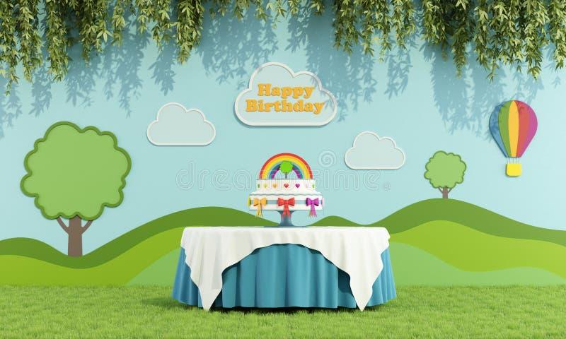 Przyjęcie urodzinowe w ogródzie ilustracja wektor