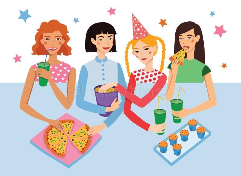 Przyjęcie Urodzinowe Z Cztery dziewczyna przyjaciół wektoru Śliczną ilustracją Girldfriends gawędzenie, Przekąsza Podczas świętow ilustracji