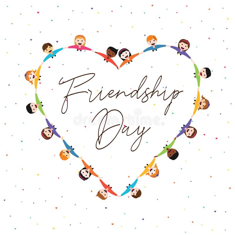 Przyjaźń dnia karta dzieciaków przyjaciele w miłość kształcie ilustracja wektor