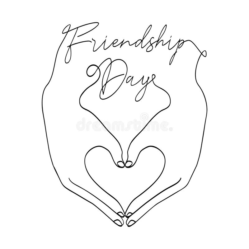Przyjaźń dnia karta miłość kształta kierowe ręki royalty ilustracja
