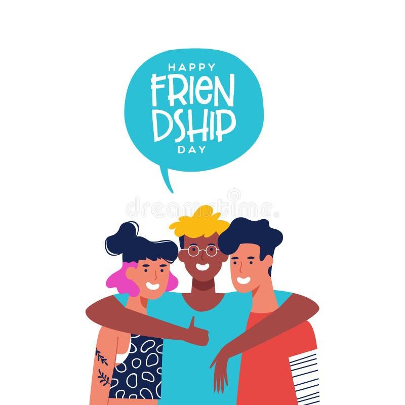 Przyjaźń dnia karta trzy przyjaciela w grupowym uściśnięciu royalty ilustracja