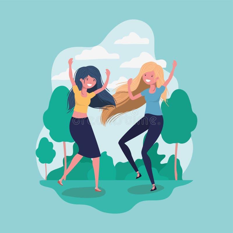 Przyjaźń dziewczyn kreskówek projekt ilustracja wektor