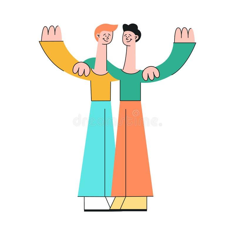 Przyjaźń i doczepianie w związku pojęciu z dwa mężczyzn szczęśliwy ściskać ilustracja wektor