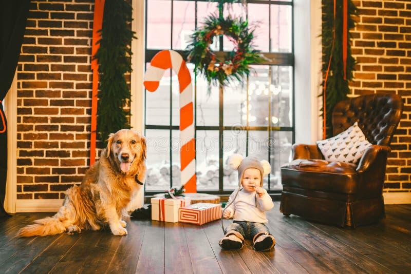 Przyjaźń mężczyzny dziecko i psa zwierzę domowe Tematu nowego roku zimy Bożenarodzeniowi wakacje Chłopiec czołganie uczy się spac zdjęcia stock