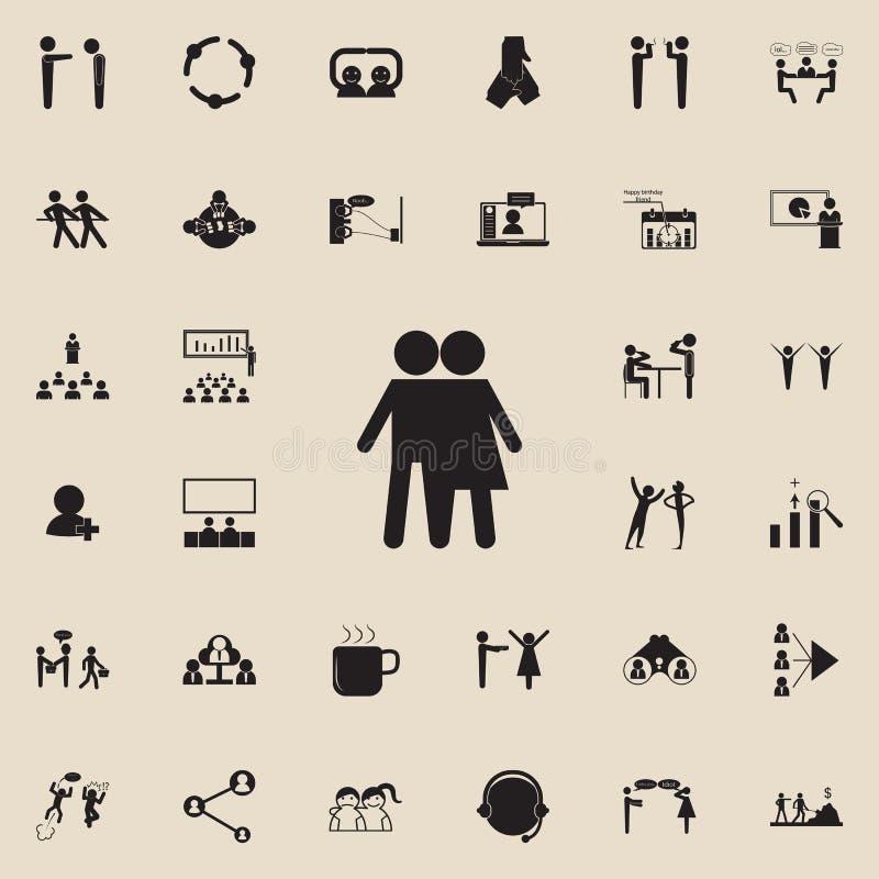 przyjaźń między chłopiec i dziewczyny ikoną Szczegółowy set rozmowy i przyjaźni ikony Premii ilości graficznego projekta znak jed royalty ilustracja