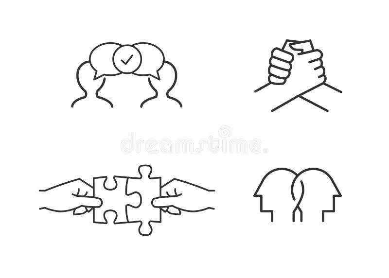 Przyjaźń, związek, poparcie ikony royalty ilustracja