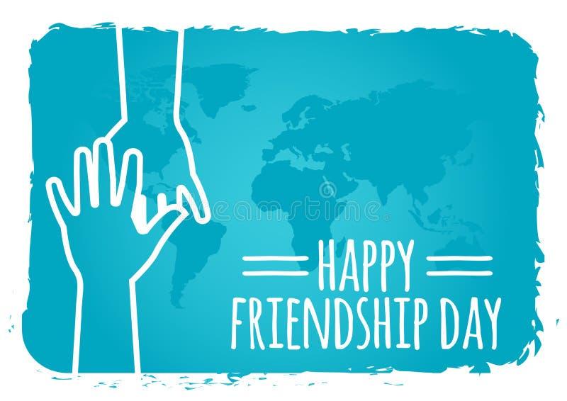 Przyja?? dnia poj?cie ręki trzyma each inny ilustracyjny zapasu wektor kartka z pozdrowieniami projekt dla szczęśliwego przyjaźń  ilustracji