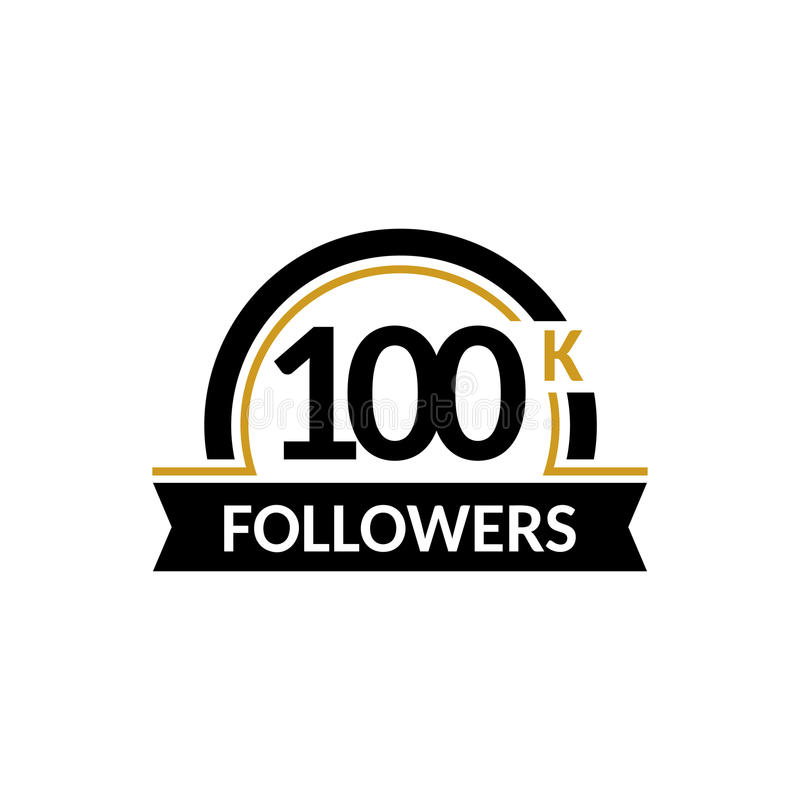 100000 przyjaciół i, 100K rocznicowe gratulacje projektują sztandaru szablon Czarny i złocisty wektor ilustracja wektor