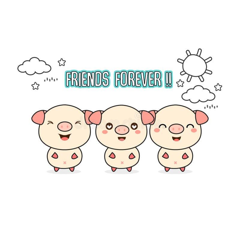 Przyjaciół na zawsze kartka z pozdrowieniami z małymi zwierzętami Śliczna świni kreskówki wektoru ilustracja ilustracja wektor