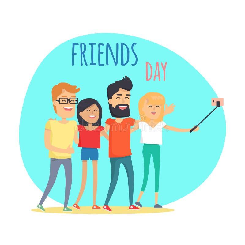 Przyjaciela dnia Dwa chłopiec i Dwa dziewczyny Robią Selfie royalty ilustracja