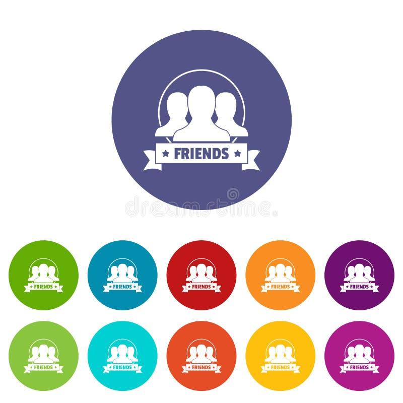 Przyjaciela ikona ustawiający wektorowy kolor royalty ilustracja