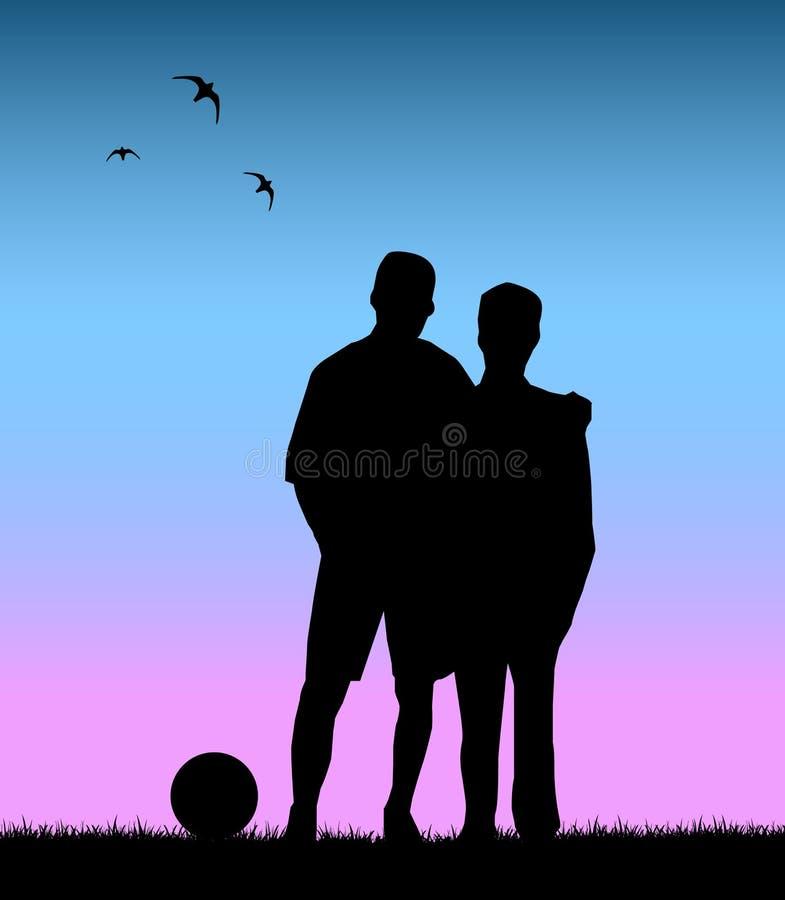 przyjaciele bawić się piłkę nożną wpólnie royalty ilustracja