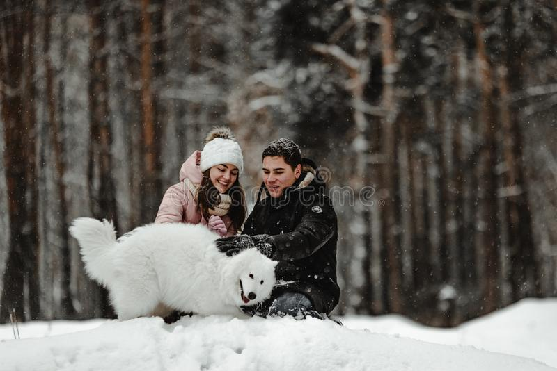 Przyjaciele bawić się z szczeniakiem w parku zdjęcie royalty free