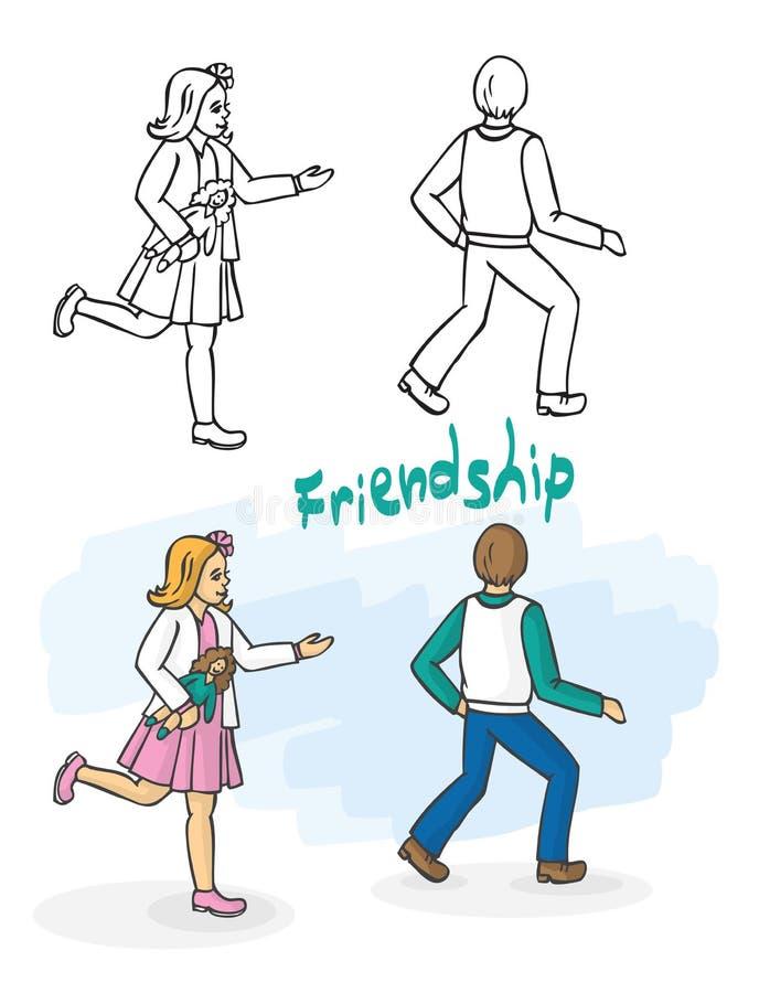 Przyjaciele dziewczyna up i chłopiec sztuki chwyt ilustracja wektor
