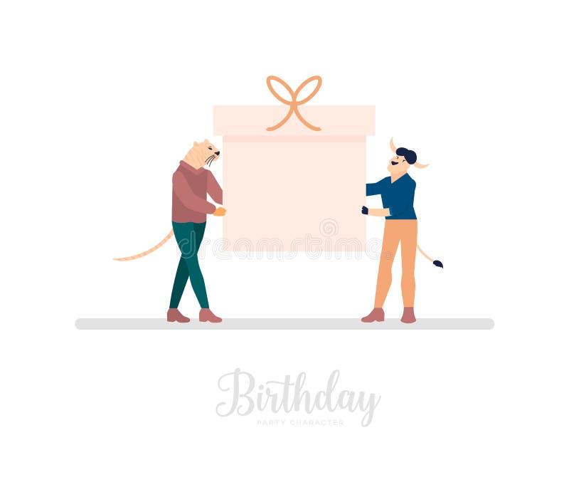 Przyjaciele lub koledzy trzymają gigantycznego prezenta pudełko z faborkiem ilustracja wektor