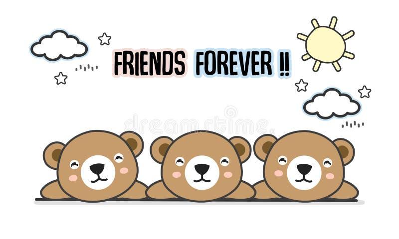 Przyjaciele na zawsze znoszą wektorową ilustrację ilustracji
