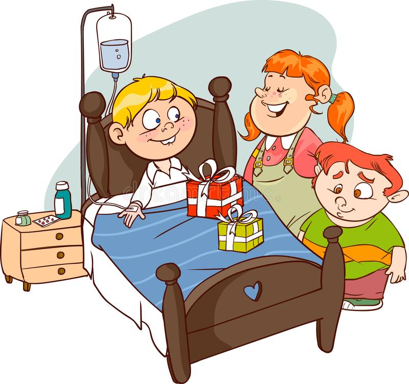 Przyjaciele odwiedza Chorego dziecko wektor ilustracja wektor
