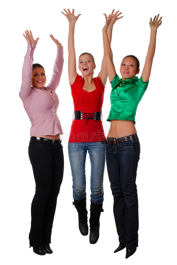 przyjaciele szczęśliwi trzy fotografia royalty free