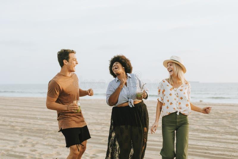 Przyjaciele tanczy zabawę i ma przy plażą zdjęcia royalty free