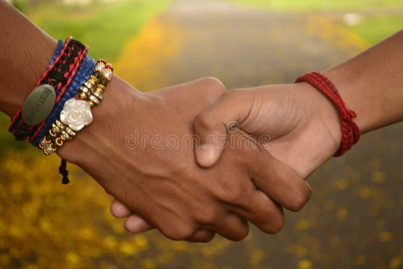 Przyjaciele target420_1_ ręki Przyjaźń zespołu rakhi zdjęcia stock