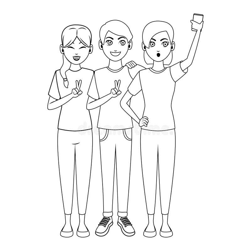 Przyjaciele używa smartphones brać selfie royalty ilustracja