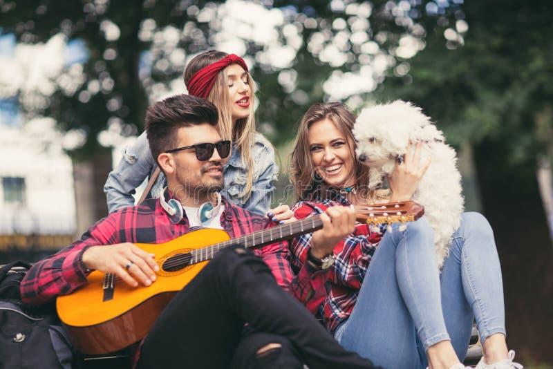 Przyjaciele w parkowym mieć zabawę bawić się gitarę obrazy royalty free