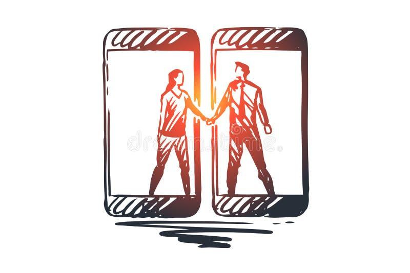 Przyjaciele, wisząca ozdoba, sieć, związek, gadżetu pojęcie Ręka rysujący odosobniony wektor ilustracji