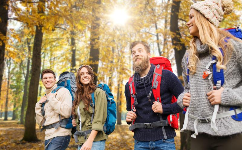 Przyjaciele wycieczkuje w jesieni z plecakami obraz royalty free