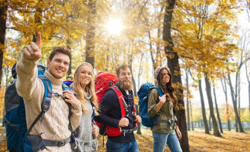 Przyjaciele wycieczkuje w jesieni z plecakami obrazy royalty free