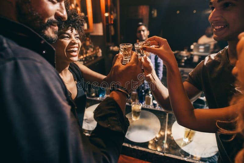 Przyjaciele wznosi toast each inny z strzałami ajerówka obrazy royalty free