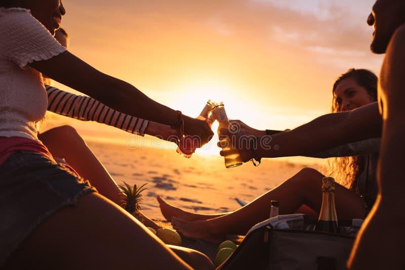 Przyjaciele wznosi toast piwnego obsiadanie przy plażą zdjęcie royalty free