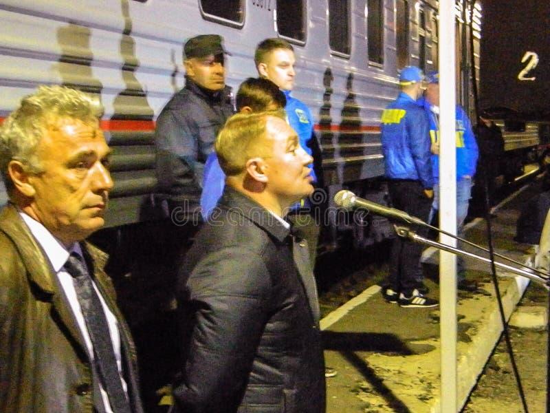 Przyjazd kampania pociąg Rosyjska partia liberalno-demokratyczna obraz stock