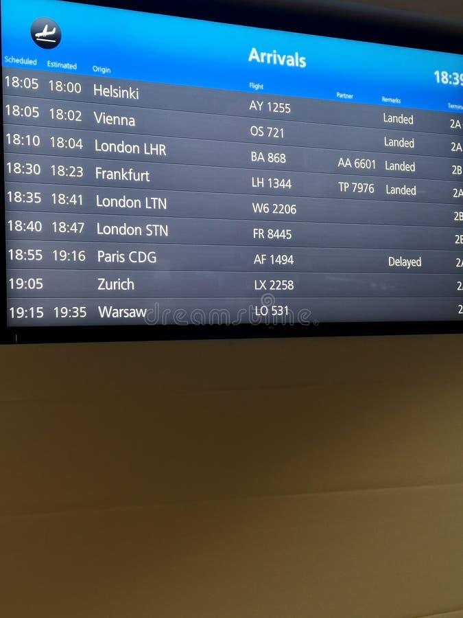 Przyjazdu pokazu deska przy lotniskowymi śmiertelnie pokazuje międzynarodowymi miejsce przeznaczenia lotami niektóre światów popu obrazy royalty free