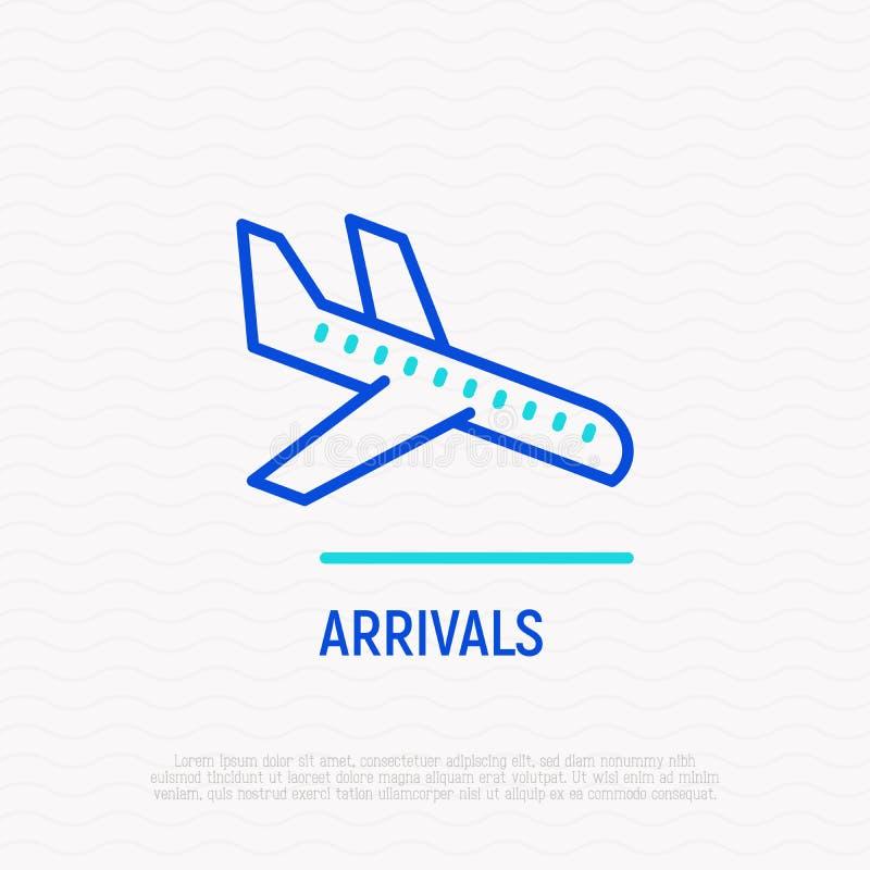 Przyjazdy cienieją kreskową ikonę, samolot lądują ilustracji