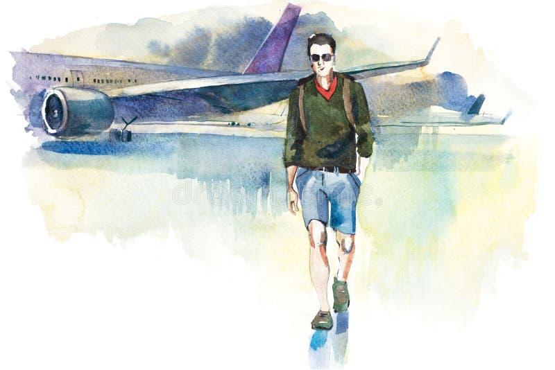przyjazdy Mężczyzna podróżnik iść od samolotu lotnisko Turystyczny passager odprowadzenie od samolotu terminal royalty ilustracja