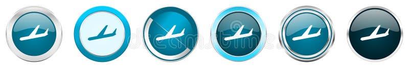 Przyjazdy osrebrzają kruszcowe chrom granicy ikony w 6 opcjach, set sieci round błękitni guziki odizolowywający na białym tle ilustracja wektor