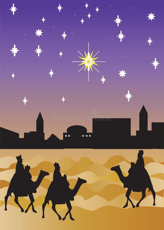 przyjeżdża Bethlehem mądrych mężczyzn ilustracji