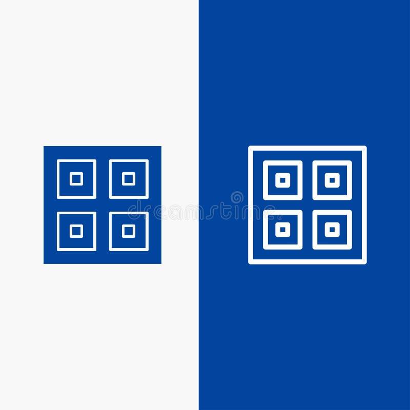 Przyjeżdżający, pudełka, dostawa, Błękitnej ikony błękita Stały sztandar, Logistycznie, wysyłki linii, glifu ikony sztandaru i li ilustracja wektor
